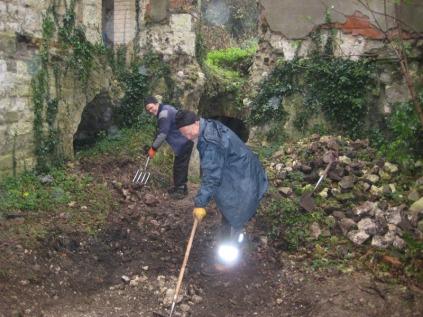Volunteers excavate Betchworth Castle cellars, 2013