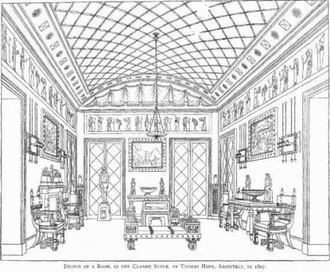 The-Egyptian-room-drawing_household furniture and interior decoration by thomas hope